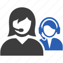 call, center, female, headphones, help, male, support icon