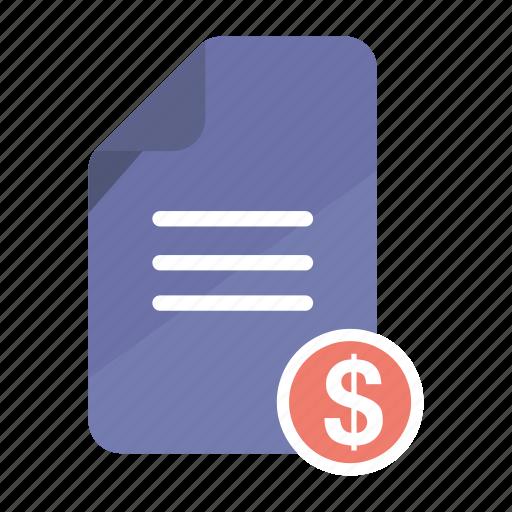 account, bill, document, dollar, file, invoice, statement icon