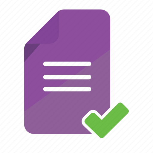 document, folder, note, office, passed, print, verified icon