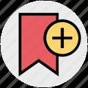 add, bookmark, new, plus, ribbon, tag icon