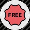 badge, card, free, free sticker, label, sticker, tag icon
