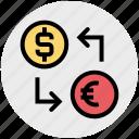 dollar, euro, money convert, money exchange icon