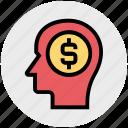business, cash, dollar, head, idea, investment, money icon