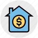 cash, dollar sign, home, house, online, property, property value icon
