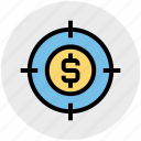 business, coin, dollar, goal, marketing, target, targeting icon