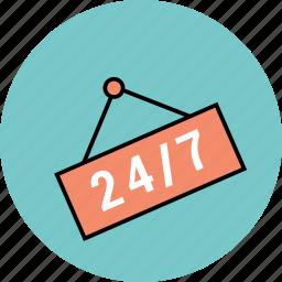 24/7, badge, open, open shop, shop sign icon icon