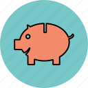 coin, money, pig, piggy bank, saving icon icon