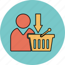 basket, download icon, online, shopping, update