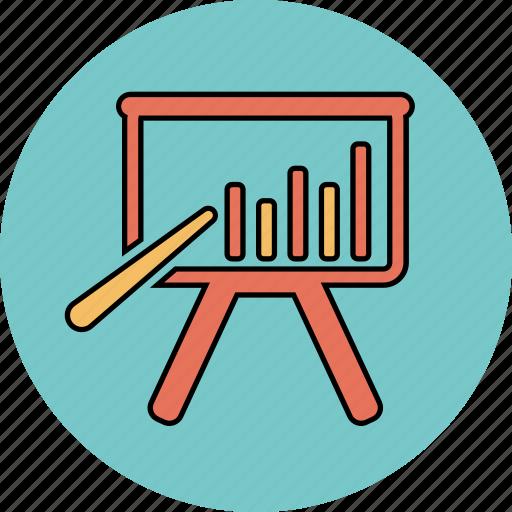 bar chart on board, bar chart presentation, graph icon