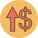 arrow, dollar, up, upload icon icon