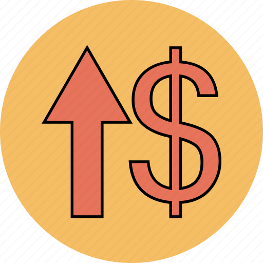 arrow, dollar, up, upload icon icon