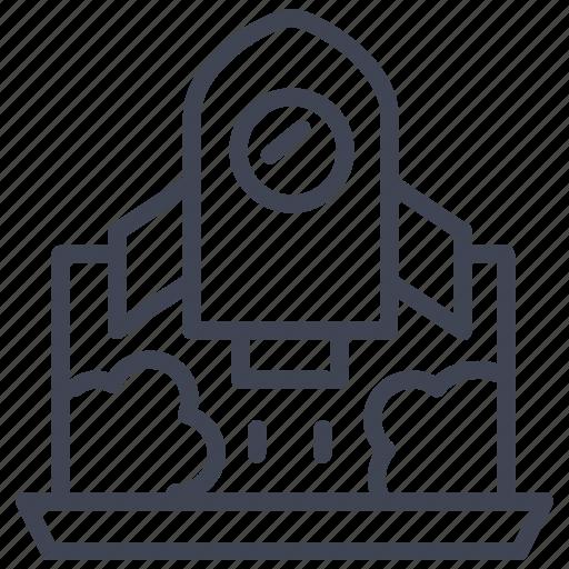 business, laptop, off, rocket, spaceship, take icon