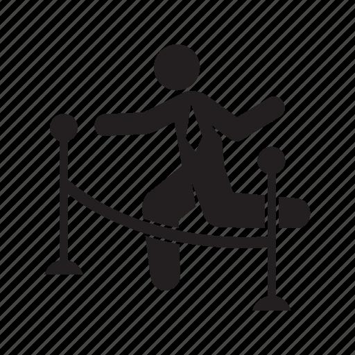 barrier, businessman, jump, running icon