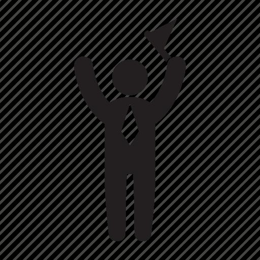 businessman, cheer, flag, success icon