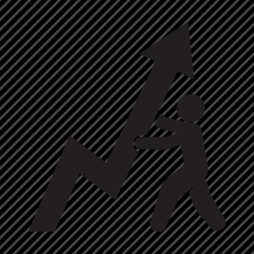 arrow, growth, people, profit icon