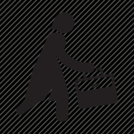 Briefcase, running, woman, work icon - Download on Iconfinder