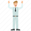 angry businessman, businessman character, male employee, professional avatar, shouting businessman icon