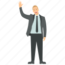 business character, businessman, businessman waving hand, entrepreneur, friendly businessman icon