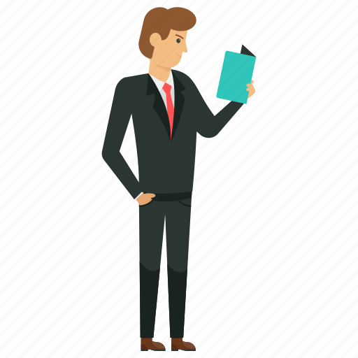 business studies, businessman reading, businessman reading book, businessman reading notes, businessman reading report icon
