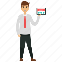 business character, business concepts, businessman praised for app, businessman showing app, mobile app for businessman icon