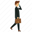 businessman with smartphone, businessperson, dealer, investor, trader icon