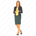 business character, business woman, business woman avatar, business woman wearing skirt, serious business woman icon