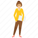 female employee holding files, female office employee, female worker, female worker avatar, office employee icon