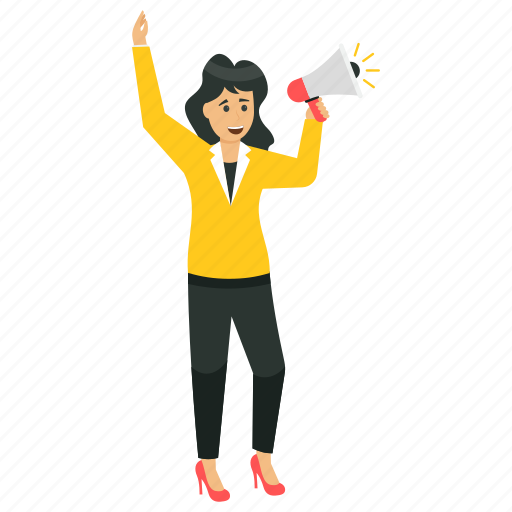 business announcement, marketing woman, professional announcement, public announcement, woman making announcement icon