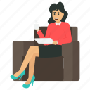 business owner with coffee, business woman, business woman with coffee, female business avatar, young business character icon