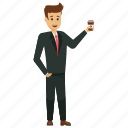 business person with coffee, businessman with coffee, male business avatar, stylish businessman, young business character icon