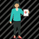 business analyst, accountant, data scientist, analyzer, female business analyst icon