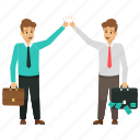 business partners, business people, business profit concept, excited business partners, excited business people icon