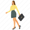 business character, business woman character, business woman profile avatar, business woman walking for work, professional woman icon