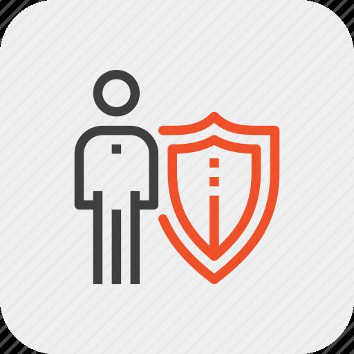 insurance, job, man, person, protection, shield, staff icon