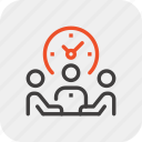 clock, management, meeting, people, team, time, work icon
