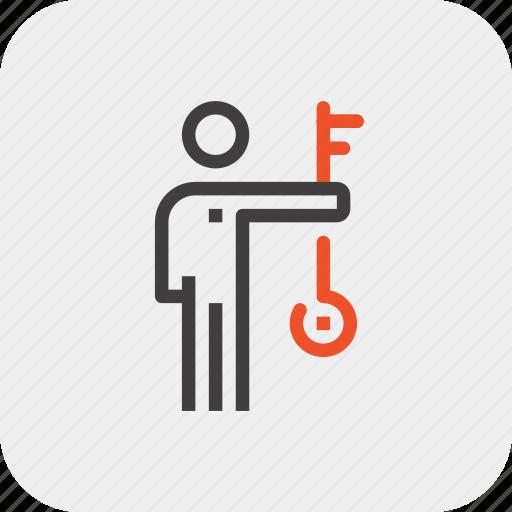 employee, human, job, key, person, skill, staff icon