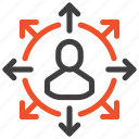 abilities, arrows, employee, job, opportunity, person, skills icon