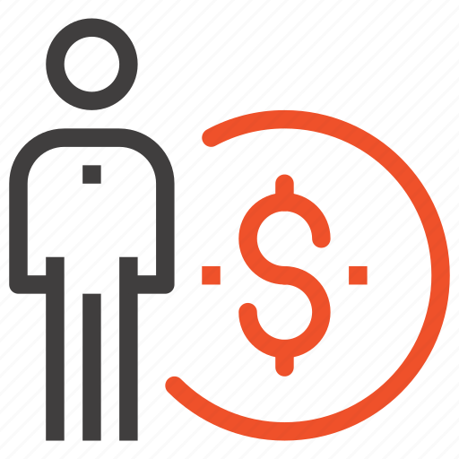 business, finance, income, management, money, person, salary icon