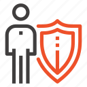insurance, job, man, person, protection, shield, staff icon