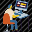 computer, man, office, programmer, software, technology, work