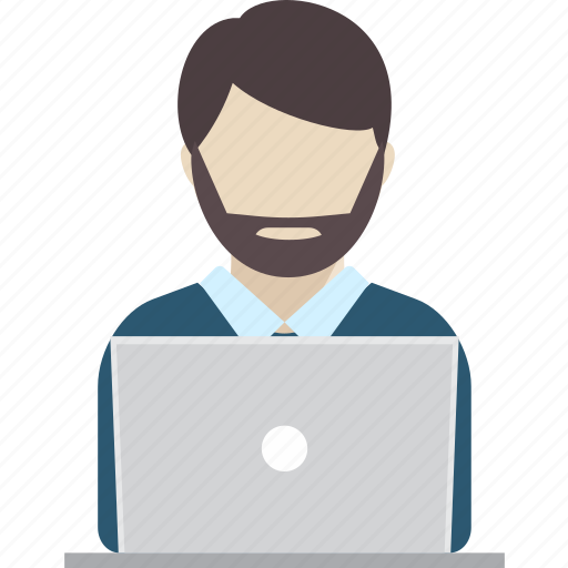 business, computer, employee, laptop, people, profile, worker icon
