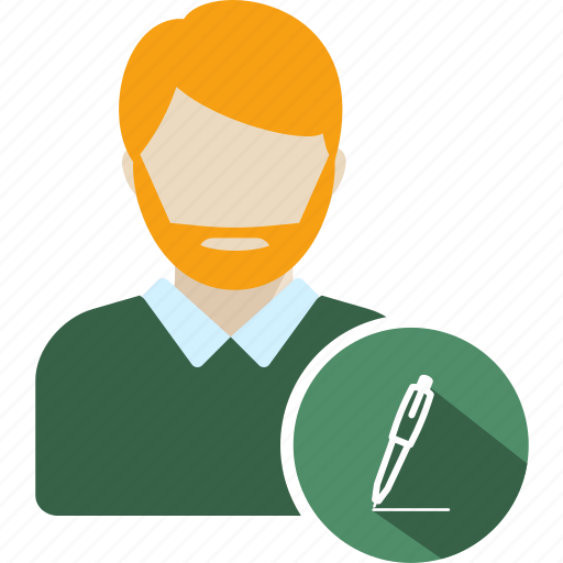 avatar, education, man, pen, pencil, standing, writing icon