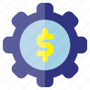 business, finance, gear, investment, plan icon