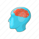 brain, business, cartoon, design, head, human, silhouette icon