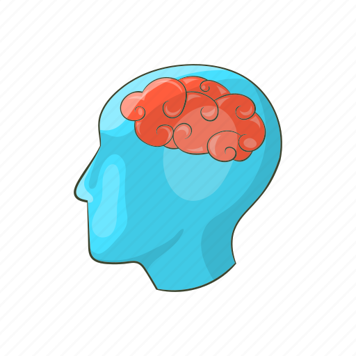 brain, business, cartoon, design, head, human, silhouette icon