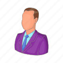 business, businessman, cartoon, job, manager, suit, work icon