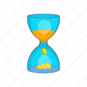 business, cartoon, hourglass, management, money, timer icon