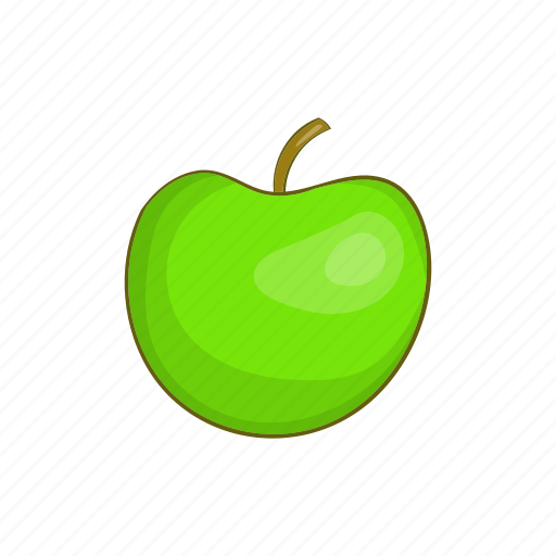 Apple, cartoon, food, fruit, green, reflection, shiny icon - Download on Iconfinder