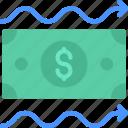 cash, flow, money, income, note icon