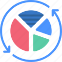 refresh, data, refreshed, reuse, information, piechart icon
